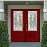 Double Entry Doors Steel Wood Wrought Iron
